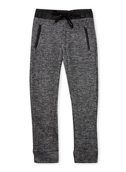 Girls 4-6x Marled Knit Joggers with Leather Trim - 3601038340010