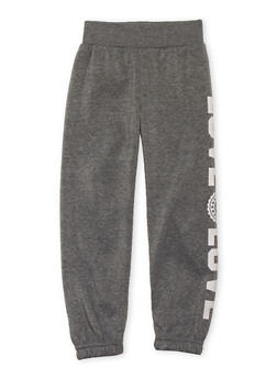 Girls 4-6x Fleece Sweatpants with Love Graphic - 3601048370001