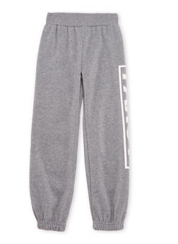 Girls 4-6x Fleece Sweatpants with Fancy Graphic - 3601048370002