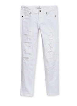 Girls 4-6x Solid Ripped Twill Pants - WHITE - 3601054730006