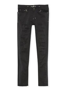 Girls 4-6X Solid Rip and Repair Skinny Pants - 3601054730012