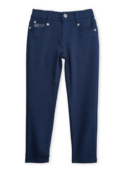 Girls 4-6x Navy Skinny Pants with Embellished Back Pockets - 3601060580010