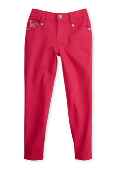 Girls 4-6x Pink Skinny Pants with Studded Pockets - 3601060580011