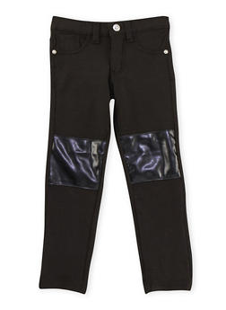Girls 4-8 Jeggings with Faux Leather Knee Patches - 3601060990011