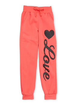 Girls 7-16 Joggers with Glitter Love Graphic - 3602038340006