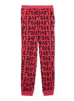 Girls 7-16 Fleece Lined Joggers with Love Print - 3602038340014