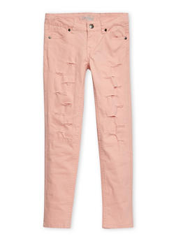 Girls 7-16 Solid Ripped Twill Pants - 3602054730006