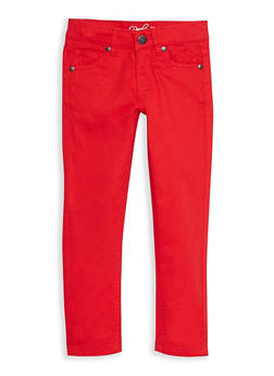 Girls 4-16 Solid Twill Skinny Pants - RED - 3602054730007