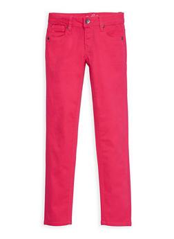 Girls 4-16 Solid Twill Skinny Pants - FUCHSIA - 3602054730007