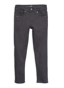 Girls 4-16 Solid Twill Skinny Pants - GREY - 3602054730007