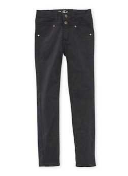 Girls 7-16 Solid 2 Button Stretch Twill Pants - BLACK - 3602054730008