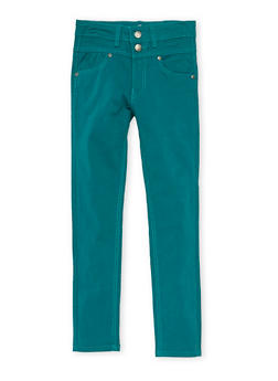 Girls 7-16 Solid 2 Button Stretch Twill Pants - TEAL - 3602054730008