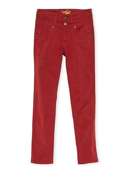 Girls 7-16 Solid 2 Button Stretch Twill Pants - WINE - 3602054730008