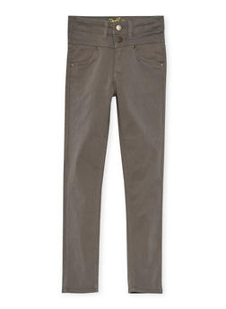 Girls 7-16 Solid 2 Button Stretch Twill Pants - GREY - 3602054730008