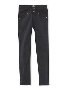 Girls 4-16 Solid Twill Stretch Pants - BLACK - 3602054730009