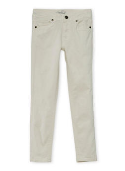 Girls 4-16 Solid Twill Stretch Pants - WHITE - 3602054730009