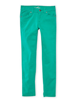 Girls 4-16 Solid Twill Stretch Pants - GREEN - 3602054730009