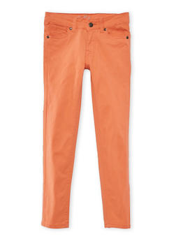 Girls 4-16 Solid Twill Stretch Pants - CORAL - 3602054730009