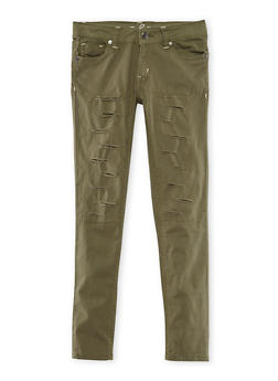 Girls 7-16 Solid Rip and Repair Skinny Pants - 3602054730011