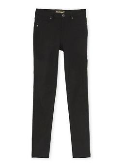 Girls 7-16 Solid Stretch Pants - BLACK - 3602056570006