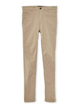 Girls 7-16 Solid Stretch Pants - KHAKI - 3602056570006