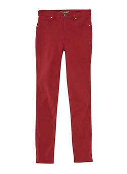 Girls 7-16 Solid Stretch Pants - WINE - 3602056570006