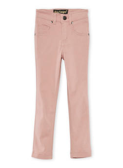 Girls 7-16 Solid Stretch Pants - MISTY ROSE - 3602056570006