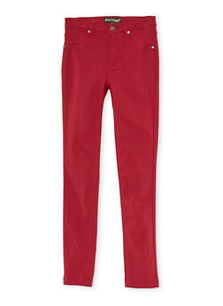 Girls 7-16 Solid Stretch Pants - MAROON - 3602056570006