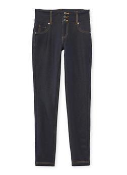 Girls 7-16 Triple Button Denim Knit Jeggings - 3602056570013