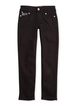Girls 7-12 Black Skinny Pants with Embellished Pockets - 3602060580025