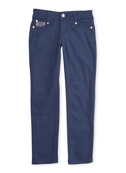 Girls 7-12 Navy Stretch Skinny Pants with Embellished Pockets - 3602060580028