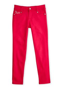 Girls 7-12 Skinny Pants with Rhinestones - 3602060580030