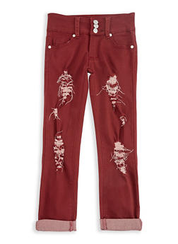 Girls 7-16 3 Button Ripped Pants - 3602063400008