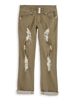 Girls 7-16 3 Button Ripped Pants - 3602063400009