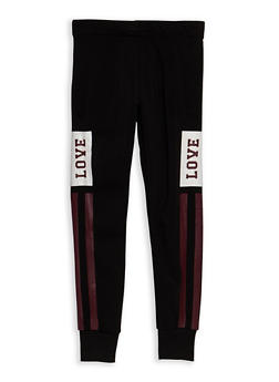 Girls 7-16 Fleece Lined Love Joggers - 3602073270007
