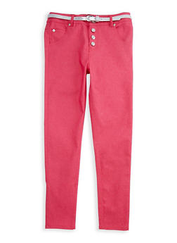 Girls 7-16 Belted Twill Pants with Rhinestone Buttons - 3602073990001