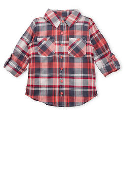 Girls 4-6x Plaid Flannel Button Front Top - 3605038340004