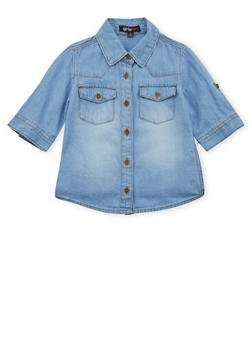 Girls 4-6x Chambray Button Up Top - 3605038340005