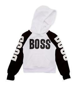 Girls 5-6x Hoodie with Boss Print - 3605038340010