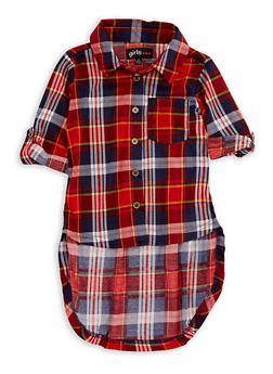 Girls 4-6x Plaid High Low Top - 3605038340041