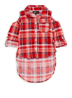 Girls 4-6x Cold Shoulder Plaid High Low Top - 3605038340049