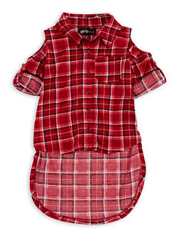 Girls 4-6x Cold Shoulder Plaid High Low Top - 3605038340050