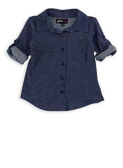 Girls 4-6x High Low Denim Knit Top - 3605038340051