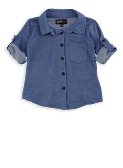 Girls 4-6x High Low Denim Knit Top - 3605038340051