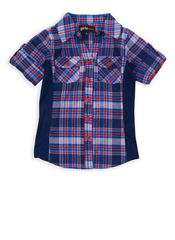 Girls 4-6x Plaid Button Front Top - 3605038340053