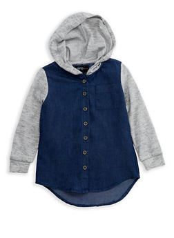 Girls 4-6x Denim Button Front Shirt with Marled Knit Sleeves and Hood - 3605038340055