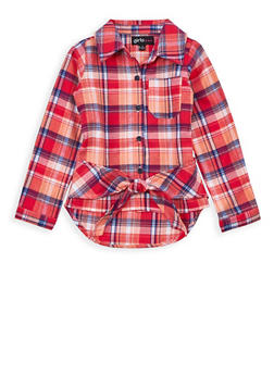 Girls 4-6x Plaid Button Tie Front Top - 3605038340056