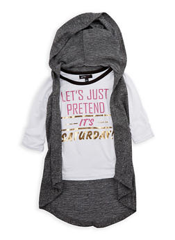 Girls 4-6x Lets Just Pretend its Saturday Graphic Top with Removable Hooded Vest - 3605038340061