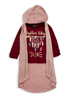 Girls 4-6x Graphic Top with Hooded Cardigan - 3605038340068