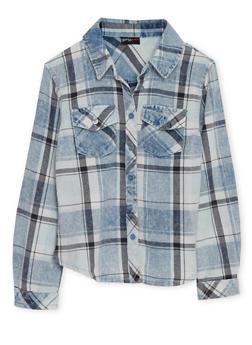 Girls 4-6x Denim Plaid Button Up Top - 3605051060010